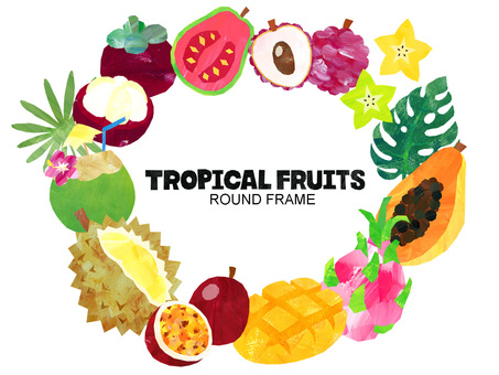 Tropical fruit background / round frame