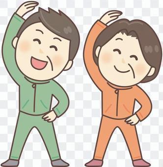 準備體操_1的中年男人和婦女