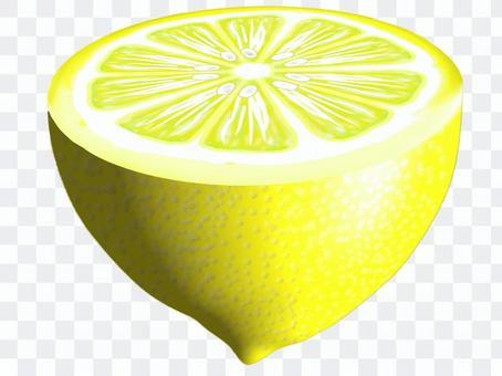 檸檬切成兩半(檸檬片)