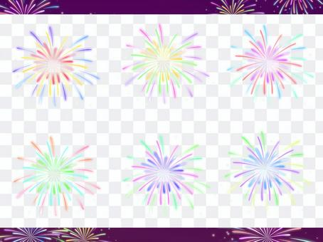 Illustrated set of sparkling fireworks