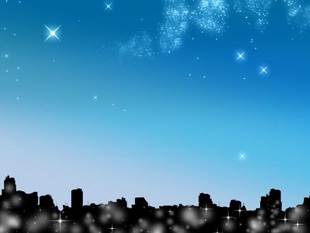 夜景和繁星點點的天空