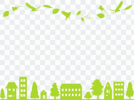 鳥和花和城市的框架3