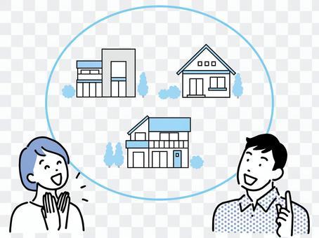 一對微笑的夫婦討論購買單戶住宅