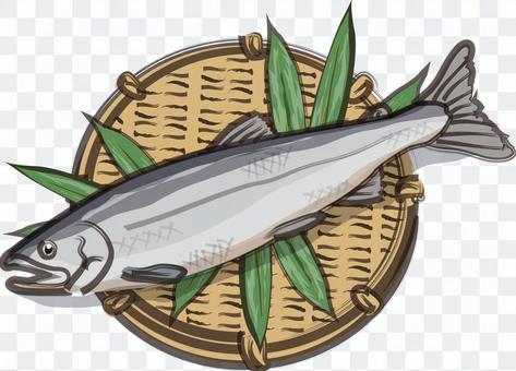三文魚竹和芝麻醬