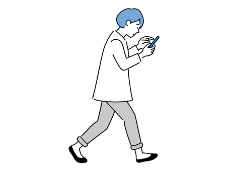 A woman walking while operating a smartphone Walking smartphone