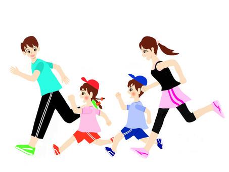 與父母和孩子一起跑步