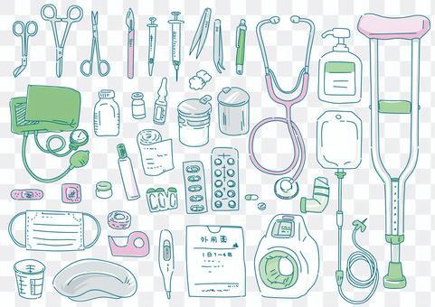 線條藝術彩色插圖集醫療設備