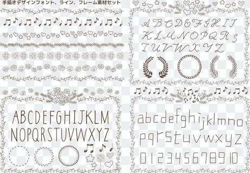 手寫的設計字體線框架幀圖片