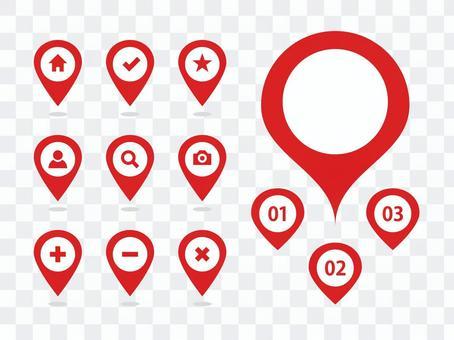 地圖圖釘圖標變化紅色