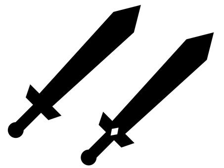 Simple sword icon set: monochrome