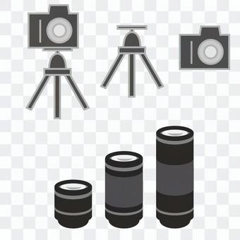 相機,鏡頭和三腳架