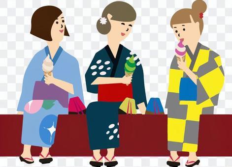 Soft serve ice cream with 3 women in yukata