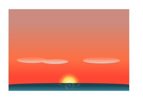 地平線,陽光和紅色灼傷