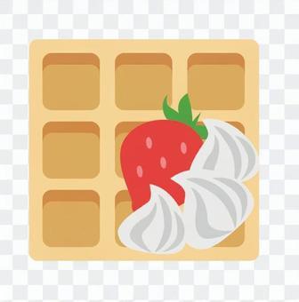 Strawberry waffle, one slice
