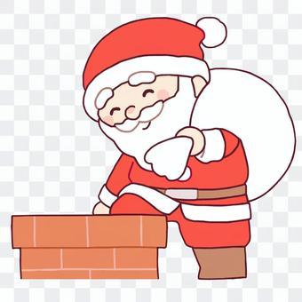 進入煙囪的聖誕老人
