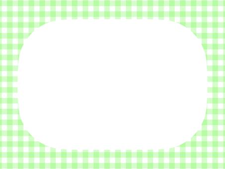 깅엄 체크 모서리 둥근 프레임 : 연두색