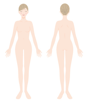 Female naked whole body front and back