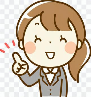 Female, suits, pointing