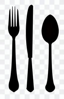 Black and white cutlery set