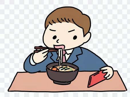 邊看智能手機邊用餐