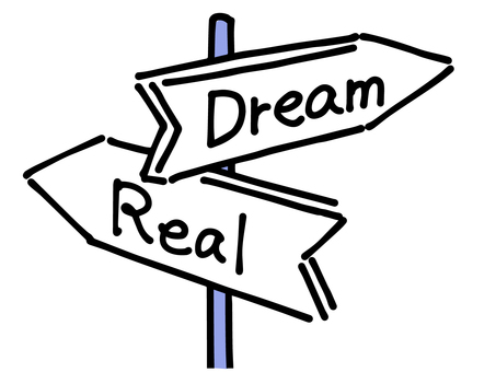 Sign illustration of the crossroads of dreams and reality