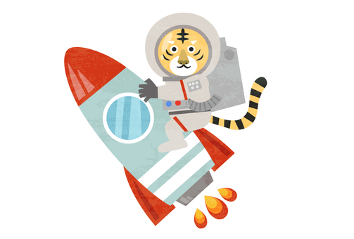 一隻老虎騎著火箭的插圖