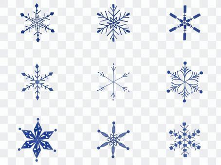 水彩風-雪の結晶