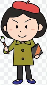 Illustration of a female painter