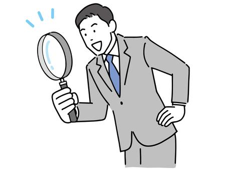 一個用放大鏡發現東西的商人