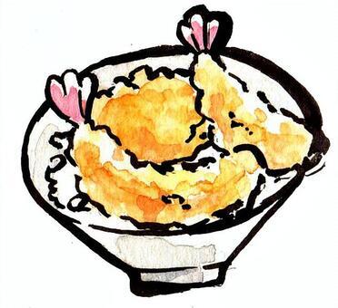 米飯和油炸魚碗
