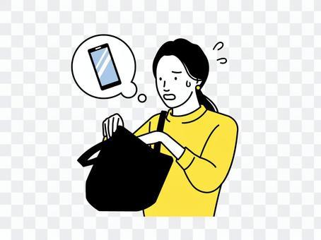 尋找智能手機的女人