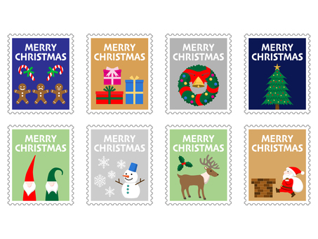 Stamp style illustration of cute Christmas motif