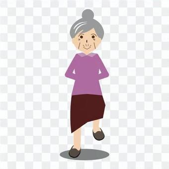 一個老人沒有拐杖走路很好