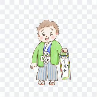 七gosan的和服中的一個男孩