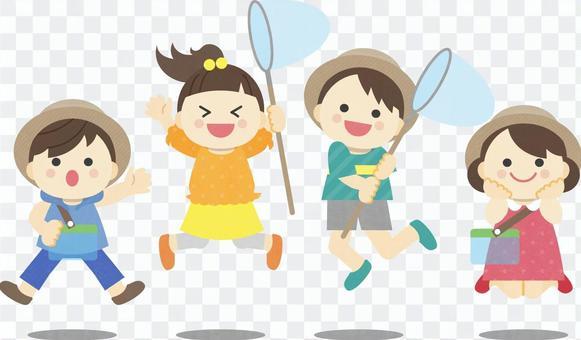 暑假孩子昆蟲