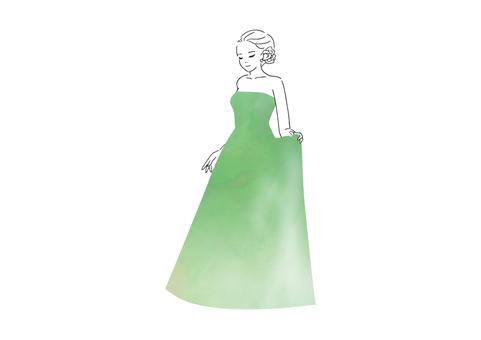 穿綠色裙子的女人