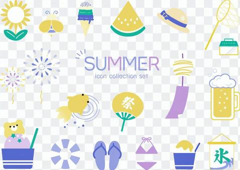 Summer icon set cool image color