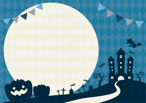 Halloween silhouette night horizontal frame