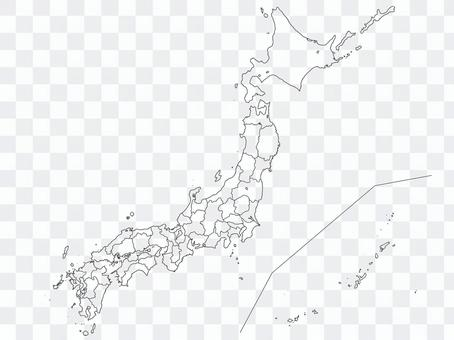 Simple map of Japan / blank map (with prefectural boundaries)