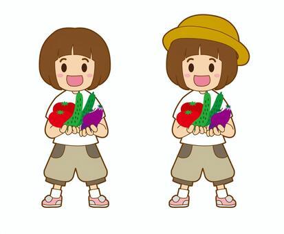 一個蔬菜的小女孩