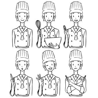 女糕點廚師線描姿勢集