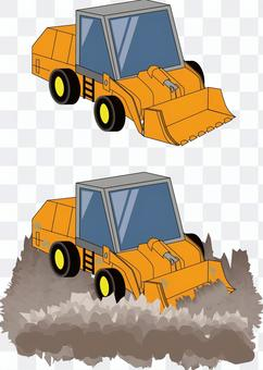Bulldozer earth and sand embankment leveling