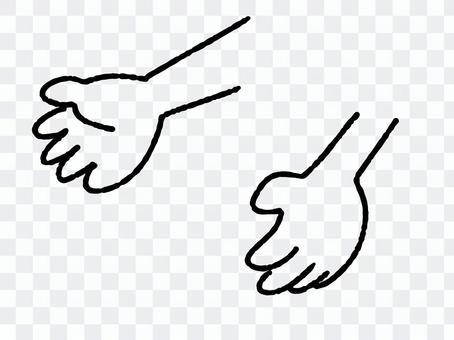手描きの手