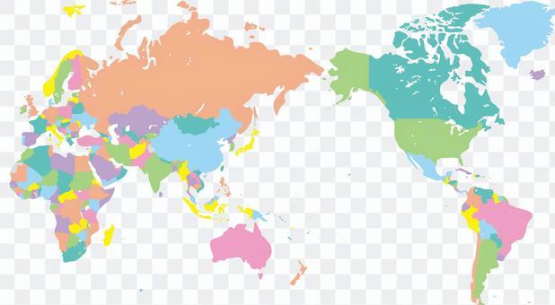 世界地圖世界國家彩色編碼邊框