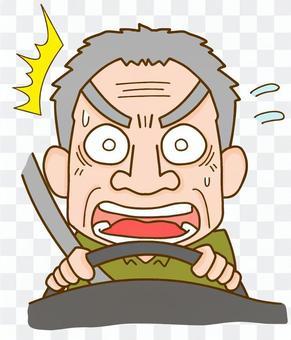 一位老人開車時急躁