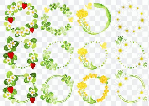 水彩風春の草花の円フレームセット