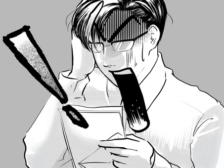 Manga handsome glasses office worker astonished at the delinquent invoice