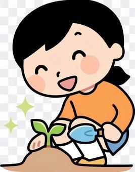苗を植える女の子