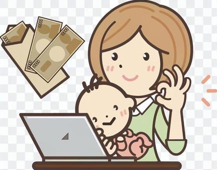 撫養孩子的一個職業婦女提高津貼的數字