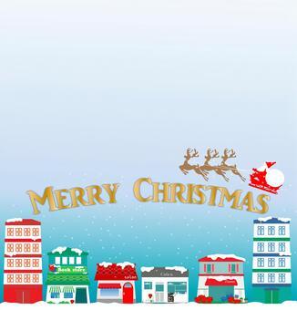 クリスマス、サンタ、町、雪、トナカイ